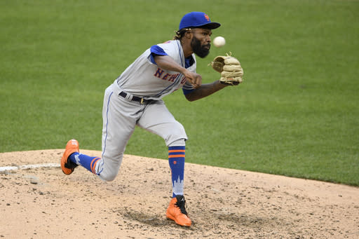 New York Mets relief pitcher Miguel Castro delivers during the sixth inning of the first baseball game of a doubleheader against the Washington Nationals, Saturday, Sept. 26, 2020, in Washington. The game is a makeup from Sept. 25. (AP Photo/Nick Wass)