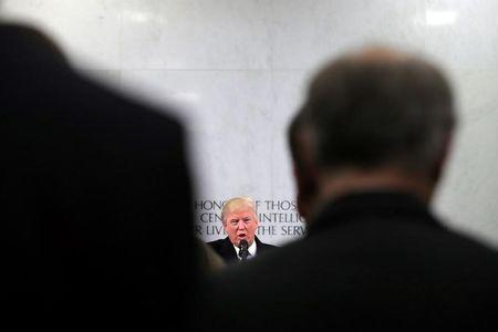 U.S. President Donald Trump delivers remarks during a visit to the Central Intelligence Agency in Langley, Virginia