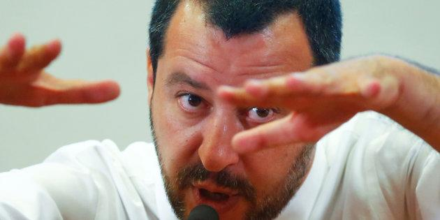 Italy's Interior Minister Matteo Salvini gestures as he speaks during a news conference at the Viminale in Rome, Italy, June 25, 2018. REUTERS/Tony Gentile