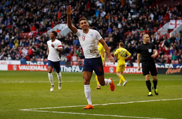 Soccer Football - European Under 21 Championship Qualifier - England vs Ukraine - Bramall Lane, Sheffield, Britain - March 27, 2018 England's Dominic Calvert-Lewin celebrates scoring their first goal Action Images via Reuters/Lee Smith