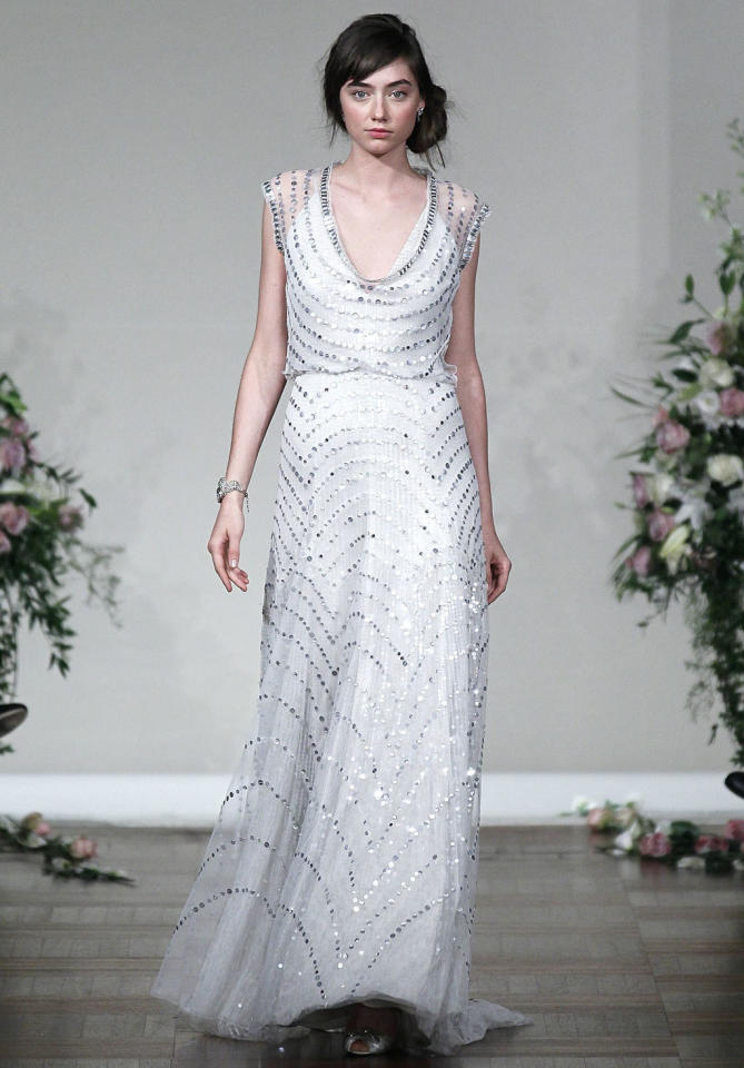 """Jennifer is the embodiment of effortless grace,"" says Abby Larson, editor and founder of <a target=""_blank"" href=""http://www.stylemepretty.com/"">StyleMePretty.com</a>. ""While we generally see her in beautifully tailored simple cuts, I would love to see her in Jenny Packham's Strelitzia (pictured), which takes that same sense of classic elegance and really makes it sparkle. She would also stun in Packham's Willow."" <p><em>Follow Abby on Twitter <a target=""_blank"" href=""https://twitter.com/stylemepretty "">@stylemepretty</a>.</em> </p>"