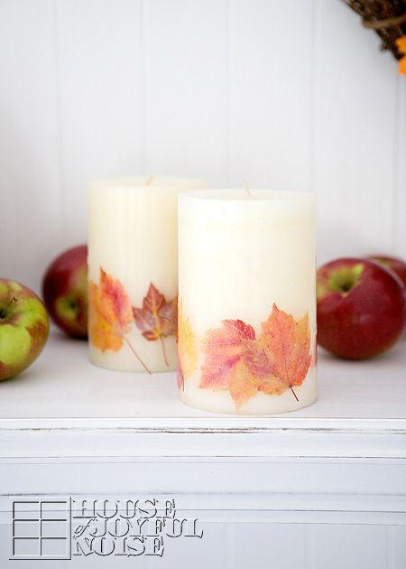 "<p>Be extra creative this fall and press your fresh fallen backyard leaves onto your favorite candles.</p><p><strong>Get the tutorial at <a href=""http://houseofjoyfulnoise.com/fall-themed-candles-embedding-real-leaves/"" rel=""nofollow noopener"" target=""_blank"" data-ylk=""slk:House of Joyful Noise"" class=""link rapid-noclick-resp"">House of Joyful Noise</a>.</strong></p>"