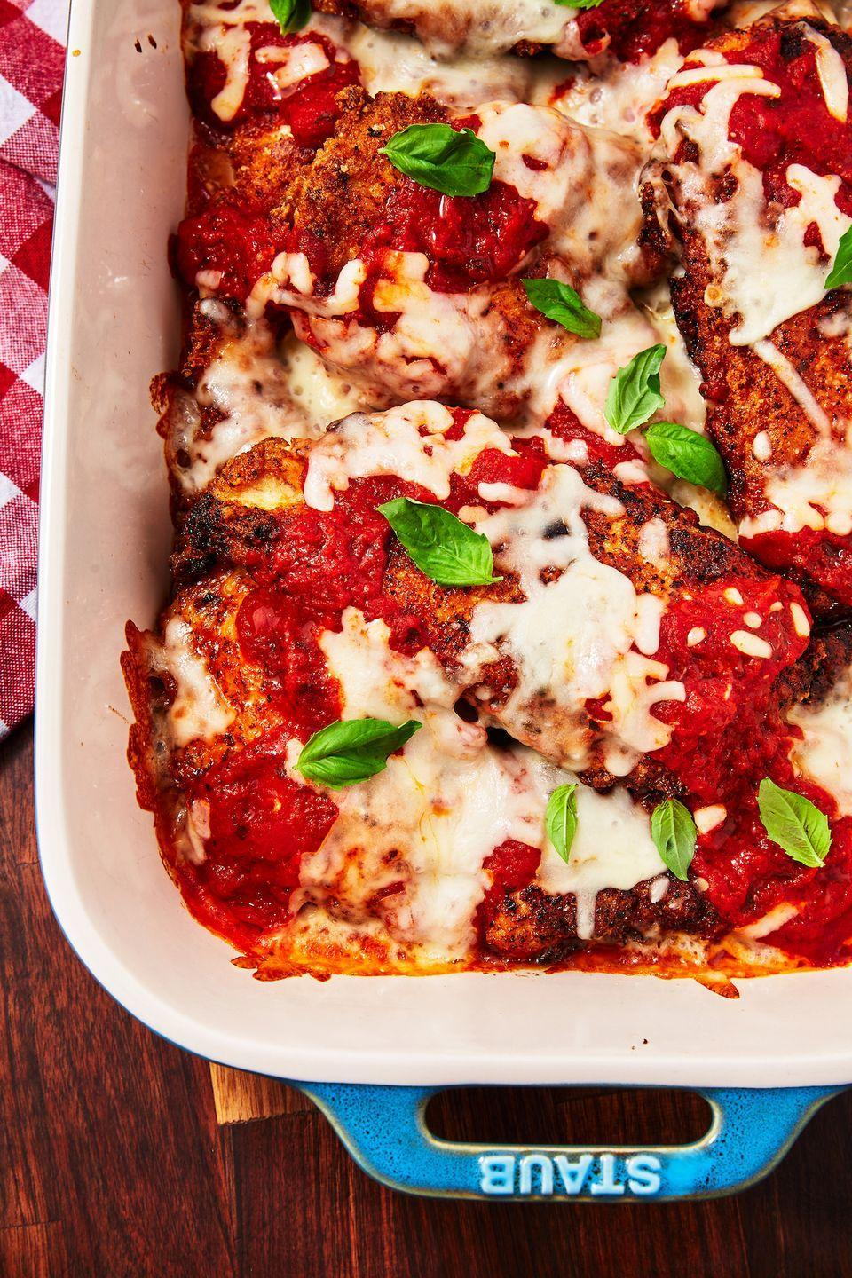 """<p>Yup, you can eat chicken parm <em>and </em>not break keto.</p><p>Get the recipe from <a href=""""https://www.delish.com/cooking/nutrition/a30221954/keto-chicken-parmesan-recipe/"""" rel=""""nofollow noopener"""" target=""""_blank"""" data-ylk=""""slk:Delish"""" class=""""link rapid-noclick-resp"""">Delish</a>.</p>"""