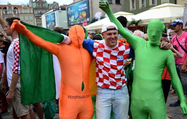 A Croatian fan poses with Irish fans at the central square in Poznan prior the match Croatia vs Ireland on June 10, 2012 during the Euro 2012 football championships. AFP PHOTO / DIMITAR DILKOFFDIMITAR DILKOFF/AFP/GettyImages