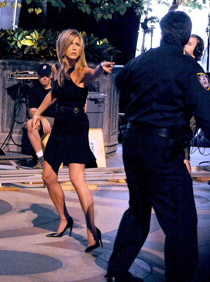 "Jennifer Aniston was spotted in New York shooting her guest spot on ""30 Rock."" According to NBC, Jennifer will play a ""free-spirited, 'Fatal Attraction'-like stalker"" named Claire Harper, who is Liz Lemon's (Tina Fey) former Chicago roommate. James Devaney/<a href=""http://www.wireimage.com"" target=""new"">WireImage.com</a> - September 3, 2008"