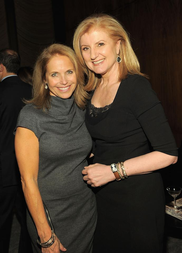 """NEW YORK, NY - APRIL 11:  Journalist Katie Couric (L) and Arianna Huffington, president and editor-in-chief of the Huffington Post Media Group attend the Hollywood Reporter celebration of """"The 35 Most Powerful People in Media"""" at the Four Season Grill Room on April 11, 2012 in New York City.  (Photo by Larry Busacca/Getty Images)"""