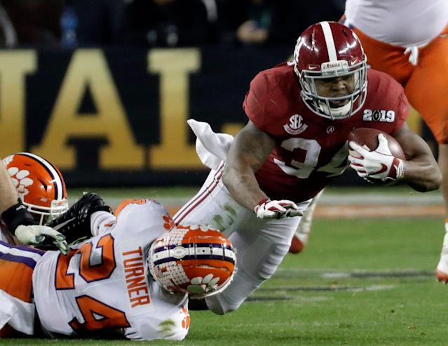The reliability of Alabama running back Damien Harris could make him a steal on Day 2 of the NFL draft. (AP)