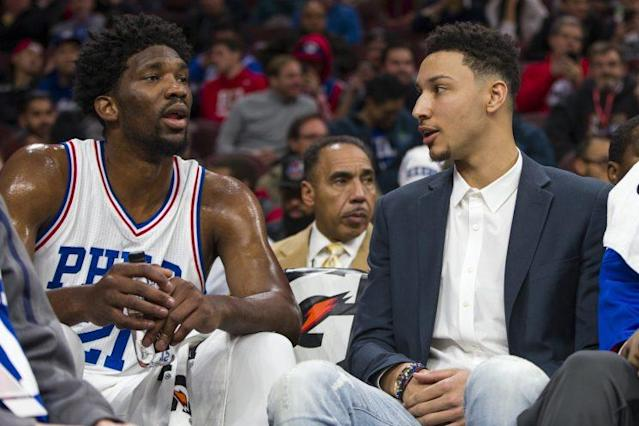 Joel Embiid, left, and Ben Simmons are the foundation of the 76ers. (AP)