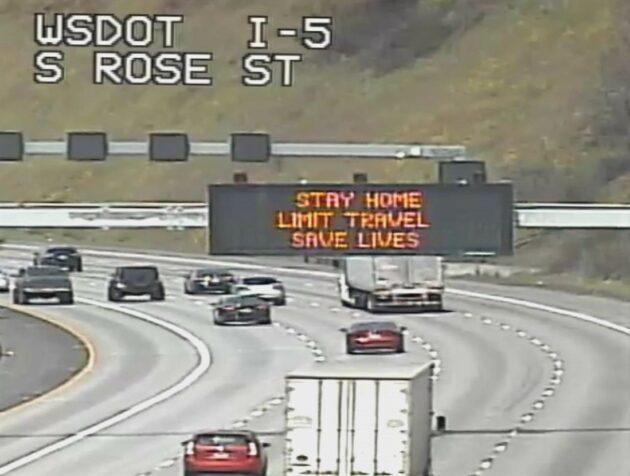 "A traffic advisory on Interstate 5 emphasizes the ""Stay Home"" message. (WSDOT Webcam)"