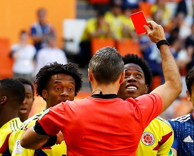 Soccer Football - World Cup - Group H - Colombia vs Japan - Mordovia Arena, Saransk, Russia - June 19, 2018 Colombia's Carlos Sanchez is sent off by referee Damir Skomina REUTERS/Jason Cairnduff TPX IMAGES OF THE DAY