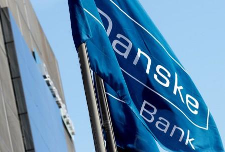 FILE PHOTO: Danske Bank flag flutters at the bank's Estonian branch in Tallinn