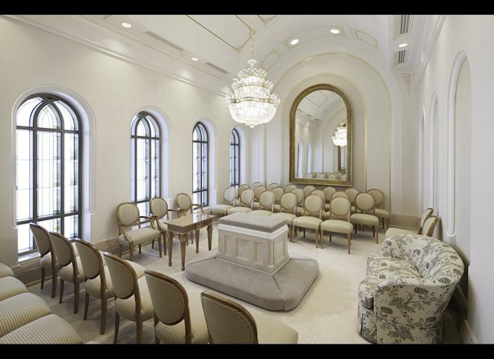 A sealing room in the Kansas City Missouri Temple.