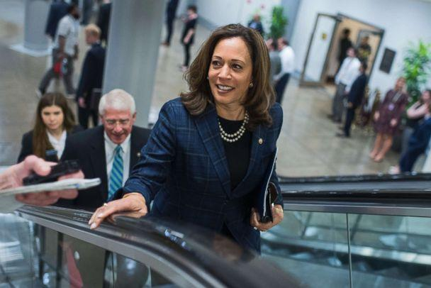 PHOTO: Sen. Kamala Harris, D-Calif., makes her way to the Senate Policy luncheons at the Capitol, May 22, 2018. (Tom Williams/CQ Roll Call/Getty Images)