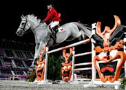 <p>Tokyo , Japan - 4 August 2021; Luciana Diniz of Portugal riding Vertigo Du Desert during the jumping individual final at the Equestrian Park during the 2020 Tokyo Summer Olympic Games in Tokyo, Japan. (Photo By Stephen McCarthy/Sportsfile via Getty Images)</p>