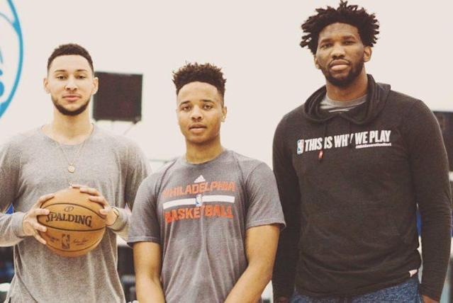 """<a class=""""link rapid-noclick-resp"""" href=""""/nba/players/5600/"""" data-ylk=""""slk:Ben Simmons"""">Ben Simmons</a>, <a class=""""link rapid-noclick-resp"""" href=""""/ncaab/players/136166/"""" data-ylk=""""slk:Markelle Fultz"""">Markelle Fultz</a> and <a class=""""link rapid-noclick-resp"""" href=""""/nba/players/5294/"""" data-ylk=""""slk:Joel Embiid"""">Joel Embiid</a> are all expected to be healthy to start the 2017-18 season. (@JoelEmbiid)"""