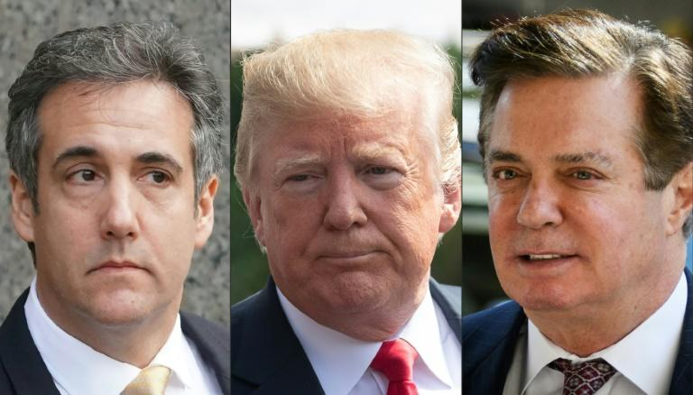US President Donald Trump (C) was dealt back-to-back blows in the cases of his former lawyer Michael Cohen (L) and former campaign chairman Paul Manafort (R)