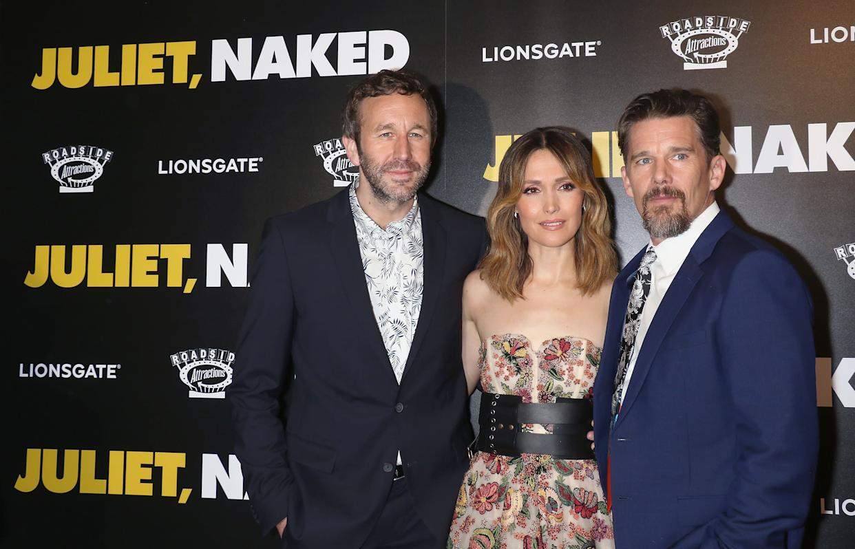 NEW YORK, NY - AUGUST 14: (L-R) Actors Chris O'Dowd, Rose Byrne and Ethan Hawke attend the 'Juliet, Naked' New York premiere at Metrograph on August 14, 2018 in New York City. (Photo by Jim Spellman/WireImage)