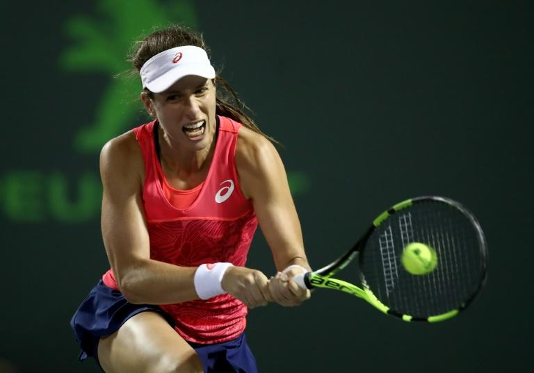 Johanna Konta of Britain hits a return during her Miami Open semi-final match against Venus Williams of the US, at Crandon Park Tennis Center in Key Biscayne, on March 30, 2017