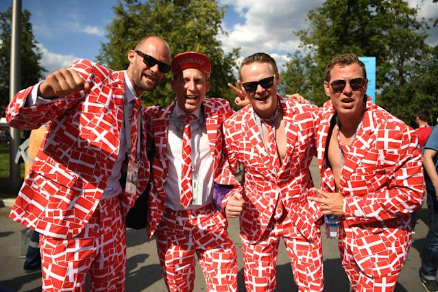 <p>Denmark fans enjoy the pre match atmosphere prior to the 2018 FIFA World Cup Russia group C match between Denmark and France at Luzhniki Stadium on June 26, 2018 in Moscow, Russia. (Photo by David Ramos – FIFA/FIFA via Getty Images) </p>