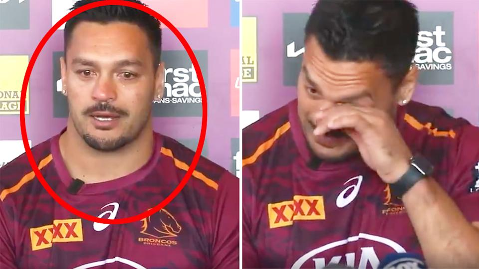 Seen here, an emotional Alex Glenn wipes away tears during his retirement announcement.