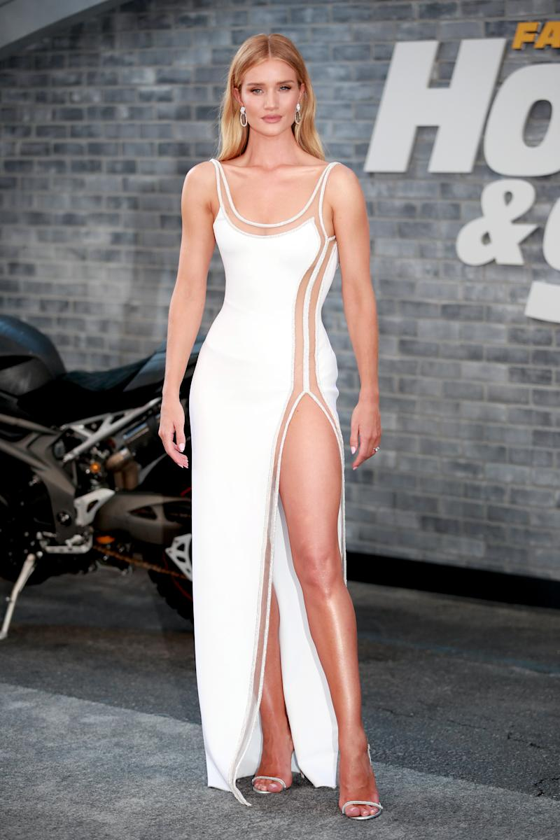 "HOLLYWOOD, CALIFORNIA - JULY 13: Rosie Huntington-Whiteley attends the premiere of Universal Pictures' ""Fast & Furious Presents: Hobbs & Shaw"" at Dolby Theatre on July 13, 2019 in Hollywood, California. (Photo by Rich Fury/Getty Images)"