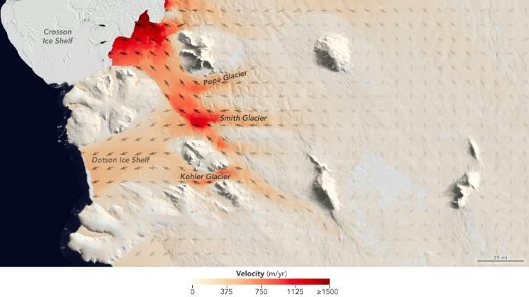 A handout graphic released by Nature and created by NASA's Earth Observatory shows flow speeds of the Smith, Pope and Kohler Glaciers and the Dotson Ice Shelf