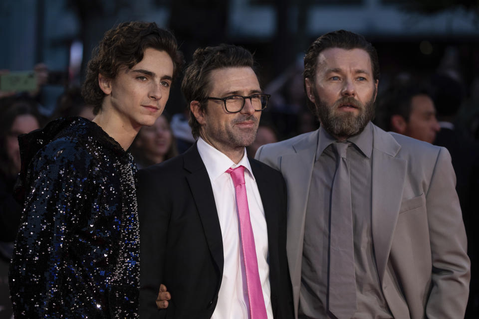 Timothee Chalamet, David Michod and Joel Edgerton pose for photographers upon arrival at the premiere of the 'The King' which is screened as part of the London Film Festival, in central London, Thursday, Oct. 3, 2019. (Photo by Vianney Le Caer/Invision/AP)