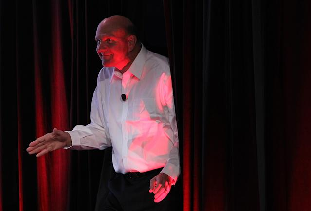 SAN FRANCISCO, CA - OCTOBER 18: Microsoft CEO Steve Ballmer emerges from backstage before speaking during the 2011 Web 2.0 Summit on October 18, 2011 in San Francisco, California. The 2011 Web 2.0 Summit features keynote addresses by Internet and Technology leaders and runs through Wednesday. (Photo by Justin Sullivan/Getty Images)
