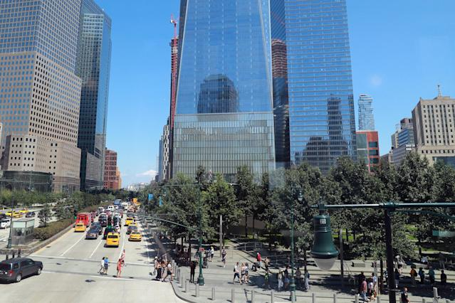 <p>A view of National September 11 Memorial & Museum grounds and One World Trade Center along West Street on Aug. 13, 2017. (Photo: Gordon Donovan/Yahoo News) </p>
