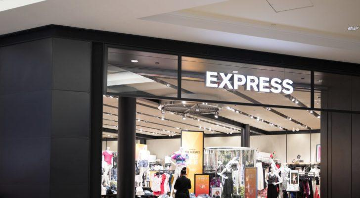the storefront of an Express store in a mall