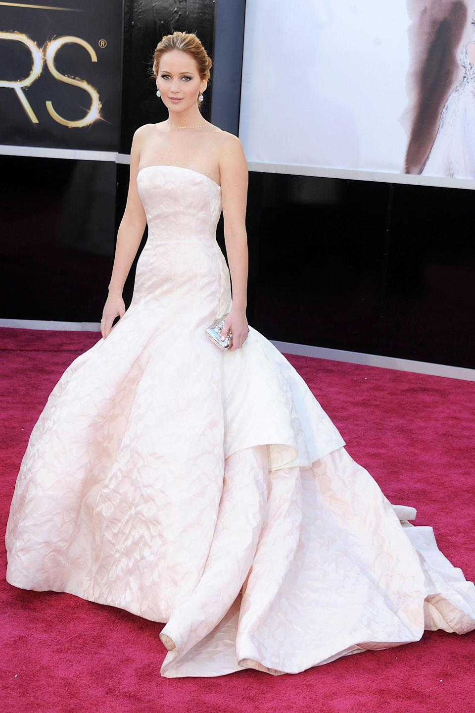 """<h2>Jennifer Lawrence, 2013</h2><br>En route to accept her Oscar for <em>Silver Linings Playbook</em>, Jennifer Lawrence had all eyes on her in this pastel-colored Dior gown. It was pretty chill, even for her.<br><br><em>Jennifer Lawrence in Dior.</em><span class=""""copyright""""> Photo: Gregg DeGuire/WireImage/Getty Images. </span>"""