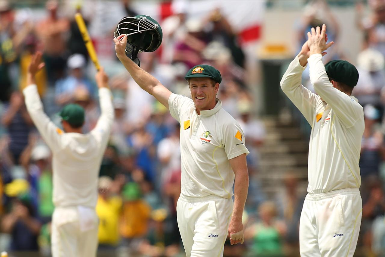 PERTH, AUSTRALIA - DECEMBER 17:  George Bailey of Australia acknowledges the crowd after defeating England and claiming a 3-0 series win on day five of the Third Ashes Test Match between Australia and England at the WACA on December 17, 2013 in Perth, Australia.  (Photo by Paul Kane/Getty Images)