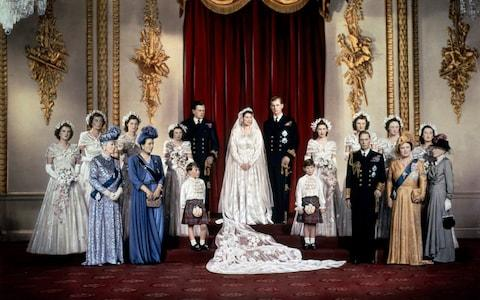 The Queen, then Princess Elizabeth, and Prince Philip on their wedding day