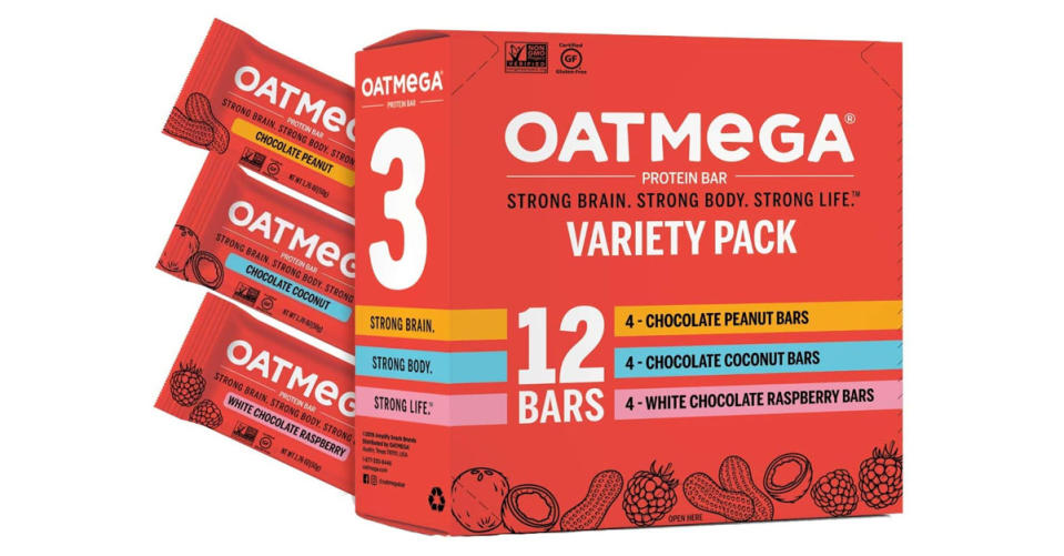 Oatmega Protein Bars are 25 percent off for a Variety Pack. (Photo: Amazon)