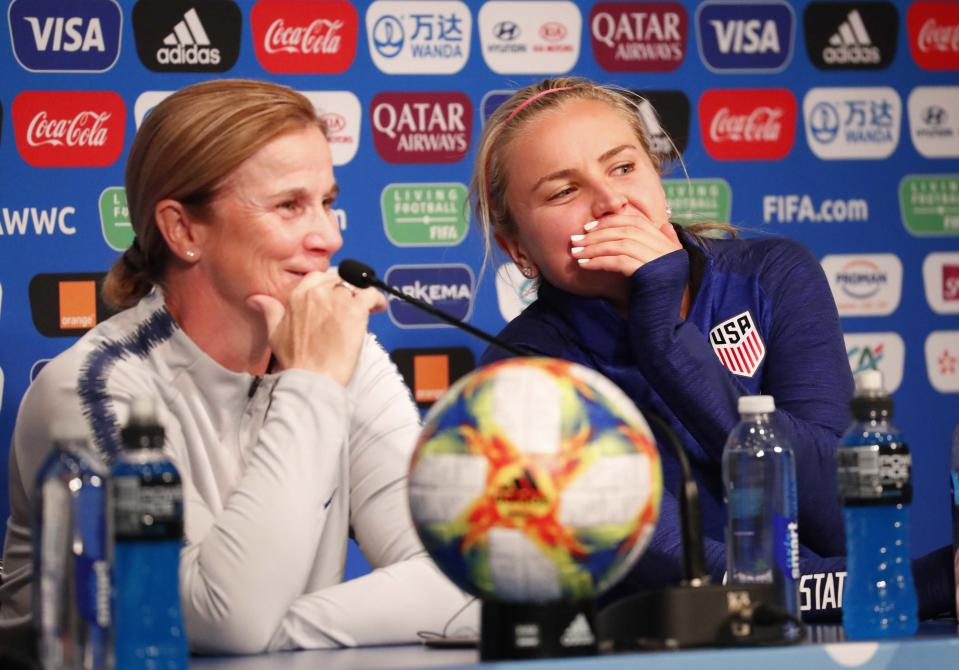Jun 15, 2019; Paris, FRA; The United States head coach Jill Ellis and midfielder Lindsey Horan whisper to each other during a Team USA press conference in the FIFA Women's World Cup France 2019 at Parc des Princes. Mandatory Credit: Michael Chow-USA TODAY Sports