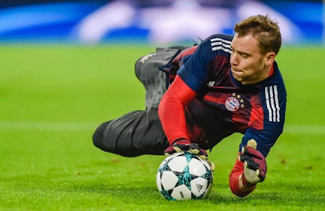Germany goalkeeper Manuel Neuer has been included in Bayern Munich's squad for the German Cup final on Saturday after eight months sidelined by a fractured foot. (AFP Photo/GUENTER SCHIFFMANN)