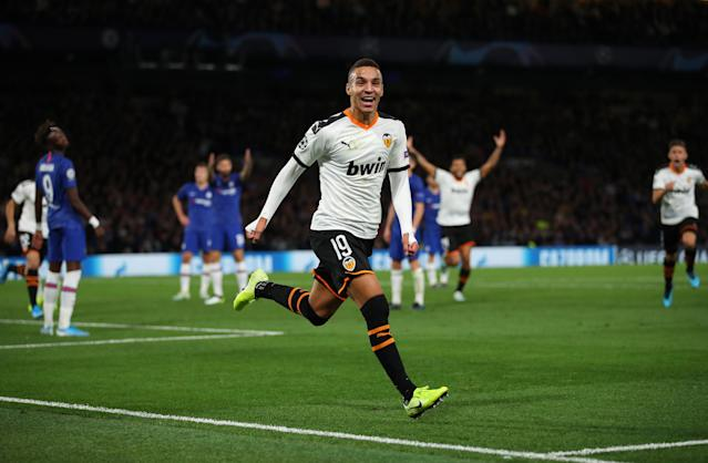 Rodrigo celebrates scoring the opening goal of the game. (Credit: Getty Images)