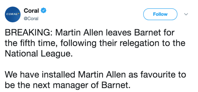 Allen tried to steer Barnet toLeague Two survival, but hes nowleft after eight weeks following their relegation