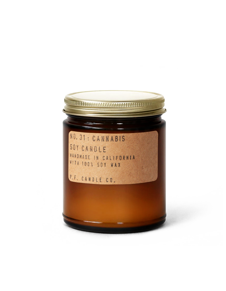 """With notes of sweet balsamic, leather, spiced cloves, lemon, and cannabis flower, this soy candle sounds mature and complex. Who would have thought?<br><br><strong>P.F. Candle Co.</strong> No. 31: Cannabis, $, available at <a href=""""https://go.skimresources.com/?id=30283X879131&url=https%3A%2F%2Fpfcandleco.com%2Fproducts%2Fno-31-cannabis-7-2-oz-standard-soy-candle"""" rel=""""nofollow noopener"""" target=""""_blank"""" data-ylk=""""slk:P.F. Candle Co."""" class=""""link rapid-noclick-resp"""">P.F. Candle Co.</a>"""