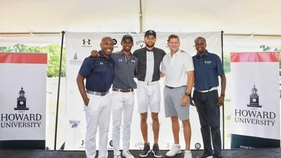 """Stephen Curry Partners with Howard University to Launch First NCAA Division 1 Golf Team. Pictured L-R: Howard University Athletic Director Kery Davis, student Otis Ferguson IV, Stephen Curry, Calloway CEO Oliver """"Chip"""" Brewer and Howard University President Wayne A. I. Frederick. (Photo credit: Howard University)"""