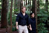 """<p>""""I can tell you that at the end of the day I think it's really simple,"""" she told <em><a href=""""https://www.vanityfair.com/style/2017/09/meghan-markle-cover-story"""" rel=""""nofollow noopener"""" target=""""_blank"""" data-ylk=""""slk:Vanity Fair"""" class=""""link rapid-noclick-resp"""">Vanity Fair</a> </em>of her relationship with Prince Harry. """"We're two people who are really happy and in love. We were very quietly dating for about six months before it became news, and I was working during that whole time, and the only thing that changed was people's perception. Nothing about me changed. I'm still the same person that I am, and I've never defined myself by my relationship.""""</p>"""