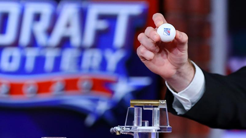 The New York Rangers' ball, pictured here after it was selected first.