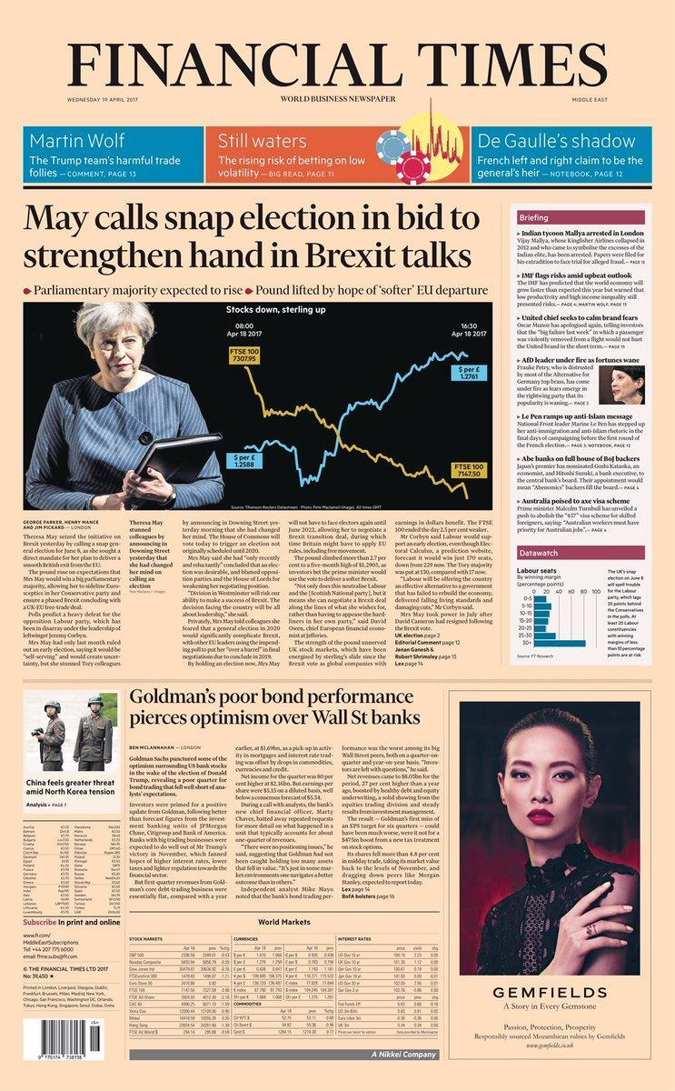 <p>Theresa May was pasted over a graphic of the market's reaction to her shock election bombshell on the FT's cover. </p>