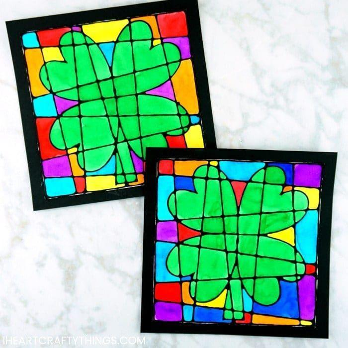 """<p>Can you believe this is a kid's craft? The stunning faux stained glass look is from using bright watercolors painted against black lines.</p><p><strong>Get the tutorial at <a href=""""https://iheartcraftythings.com/st-patricks-day-art-project-for-kids.html"""" rel=""""nofollow noopener"""" target=""""_blank"""" data-ylk=""""slk:I Heart Crafty Things"""" class=""""link rapid-noclick-resp"""">I Heart Crafty Things</a>.</strong></p><p><a class=""""link rapid-noclick-resp"""" href=""""https://www.amazon.com/gp/product/B014T4C58W/?tag=syn-yahoo-20&ascsubtag=%5Bartid%7C2164.g.35012898%5Bsrc%7Cyahoo-us"""" rel=""""nofollow noopener"""" target=""""_blank"""" data-ylk=""""slk:SHOP GLUE"""">SHOP GLUE</a><br></p>"""