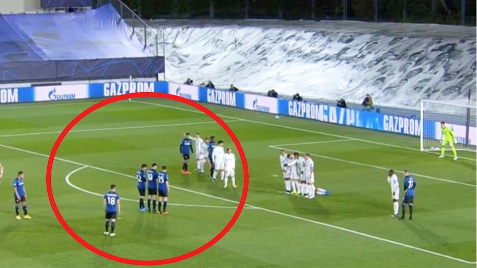 Atalanta's Muriel lines-up a free-kick against Real Madrid in the Champions League.