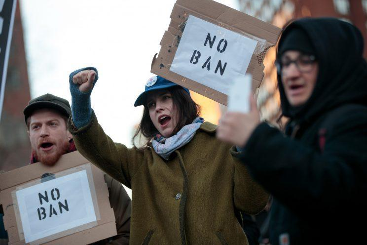 Demonstrators rally during a March protest against President Trump's proposed travel ban. (Photo: Drew Angerer/Getty Images)