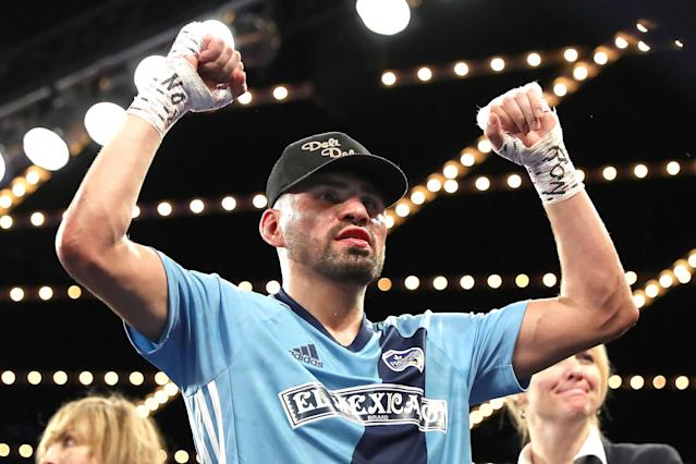"<a class=""link rapid-noclick-resp"" href=""/ncaaf/players/300168/"" data-ylk=""slk:Jose Ramirez"">Jose Ramirez</a> celebrates after defeating Amir Imam during their WBC junior welterweight fight at The Theatre at Madison Square Garden on March 17, 2018 in New York City. (Abbie Parr/Getty Images)"