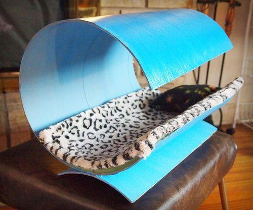 cat house made out of a tube