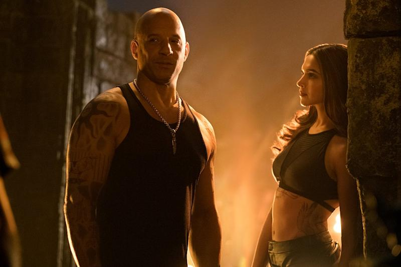 Vin Diesel with Deepika Padukone in 'xXx: Return of Xander Cage' (credit: Paramount)