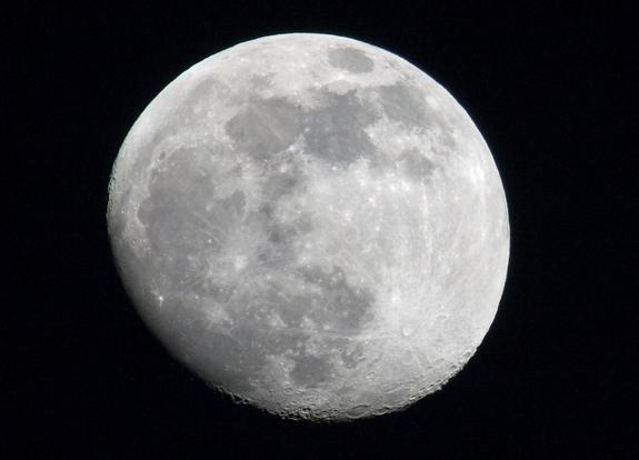 This photo of the moon over Des Moines, Iowa, was captured using a Canon Rebel XS camera.